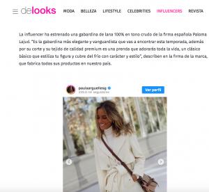Revista De looks habla de la gabardina blanca soñada que lleva Paula Arguelles y es de Paloma Lajud