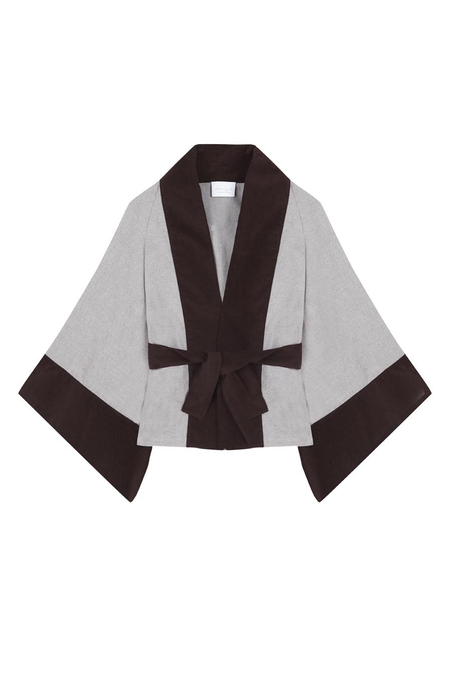 kimono corto tipo blazer de algodon con dibujo de espiga en tono crudo y bordes de terciopelo opaco color marron