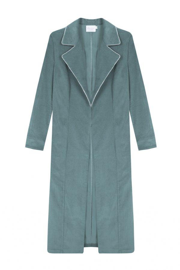 abrigo de pana verde musgo, largo y recto con bordes a contraste- otoño invierno Paloma Lajud