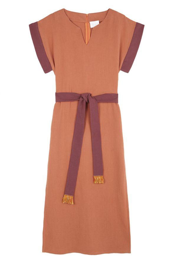 vestido tipo kaftan cotobro color caldero algodon organico paloma lajud primavera verano Belen Marti Junco