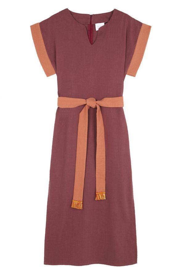 vestido cotobro granate con contrastes caldero de paloma lajud primavera verano 21