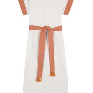 vestido cotobro natural con contrastes caldero de paloma lajud primavera verano 21