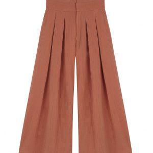 Pantalón naranja de cintura alta y tablones al frente