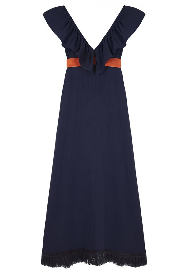 vestido de verano largo con escote v y colante, color azul marino con contraste naranja y flecos en el borde inferior