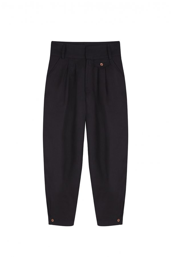 Pantalon chino negro de lino cintura alta con tablones y botones de madera