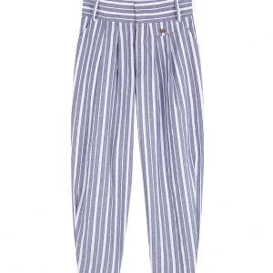 pantalon chino de rayas azul con blanco con cintura alta