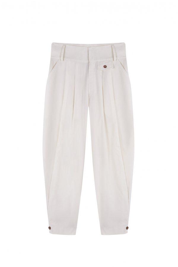 Pantalon chino cintura alta con tablones y botones de madera