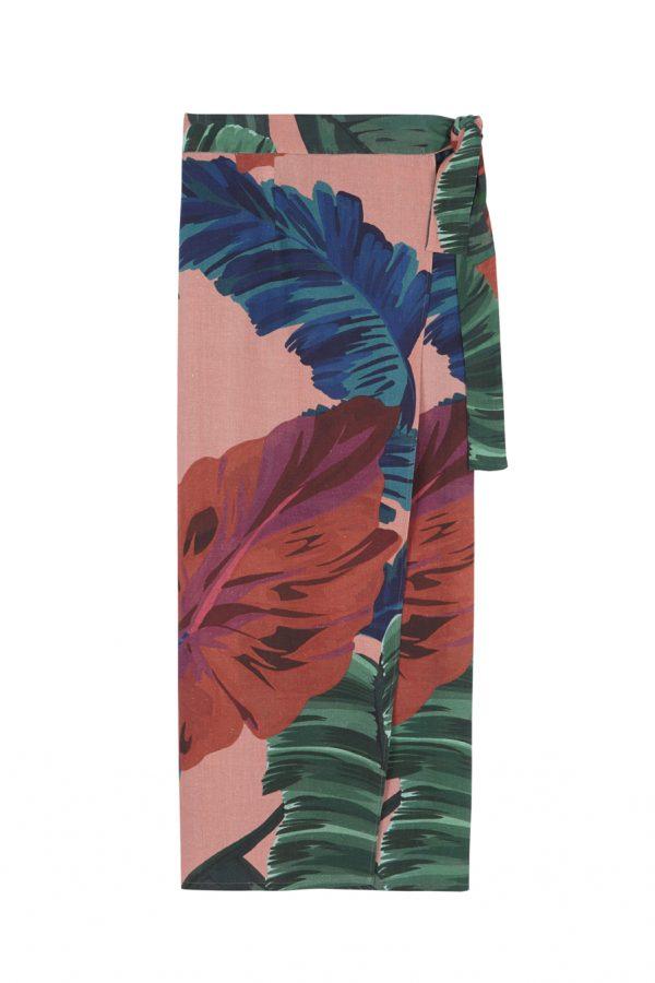 falda tipo pareo de lino sostenible print de flores, de lino sostenible, con un print tropical, diseño de paloma lajud primavera verano 2020