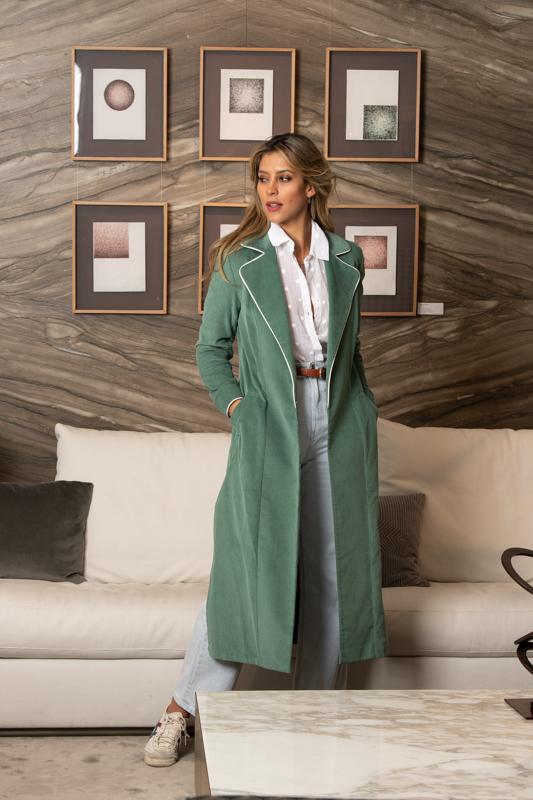 bata abrigo verde musgo de pana coleccion otoño invierno paloma lajud