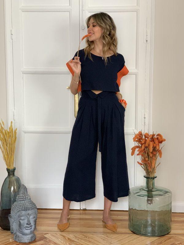 Pantalon Galdana Paloma Lajud - cintura alta y algodon organico