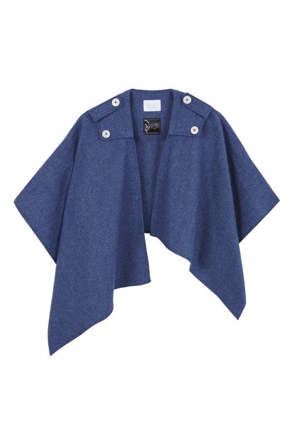 poncho de lana con cashmete azul con dibujo de espiga