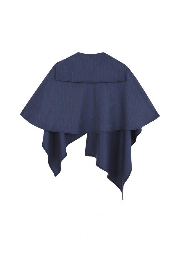 poncho de lana con cashmete azul con rayas color camel