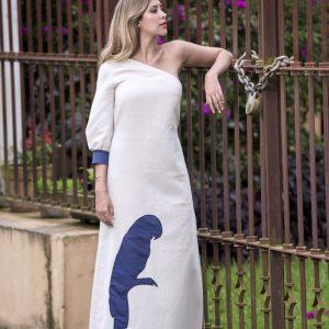 Vestido de lino crudo Palenque - front one shoulder