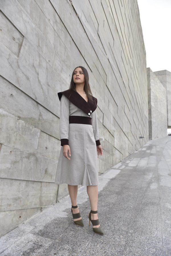 falda mabona beige con marron frente