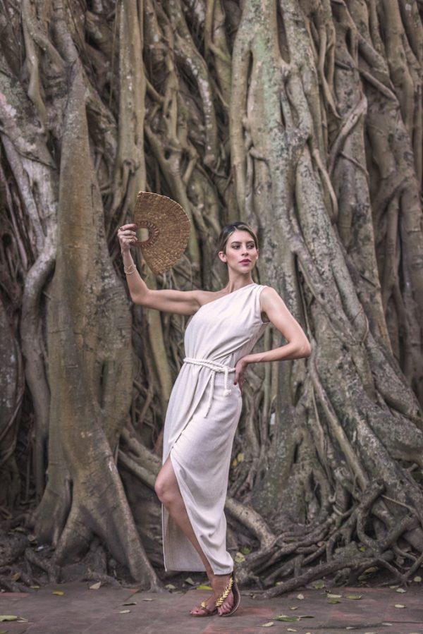 vestido positano paloma lajud one shoulder