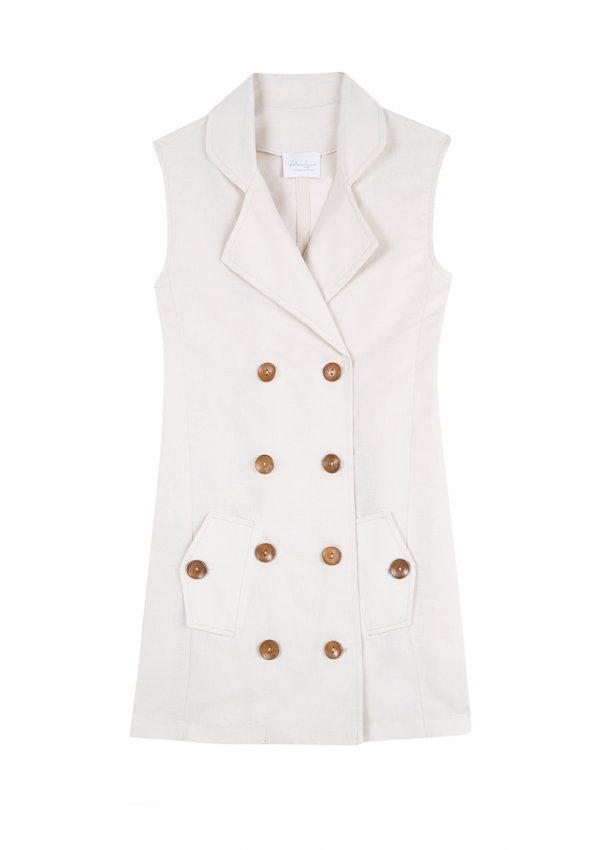 Vestido de lino cruzado con botones sin mangas color crudo