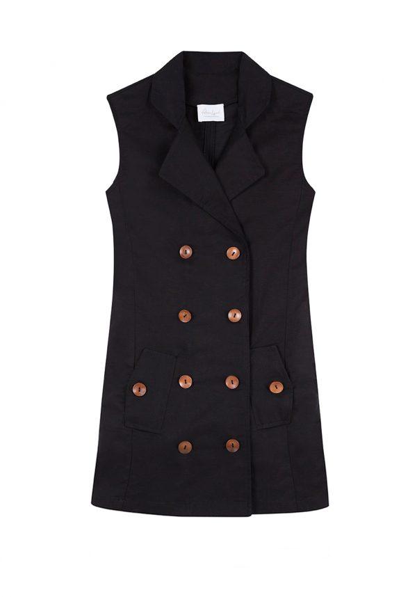 Vestido chaleco cruzado, de lino negro y botones de madera